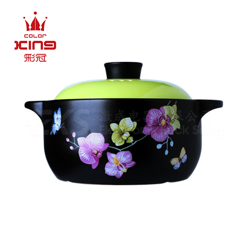 Color King 3200ML 100% Ceramic Stock Pot - Apple Green
