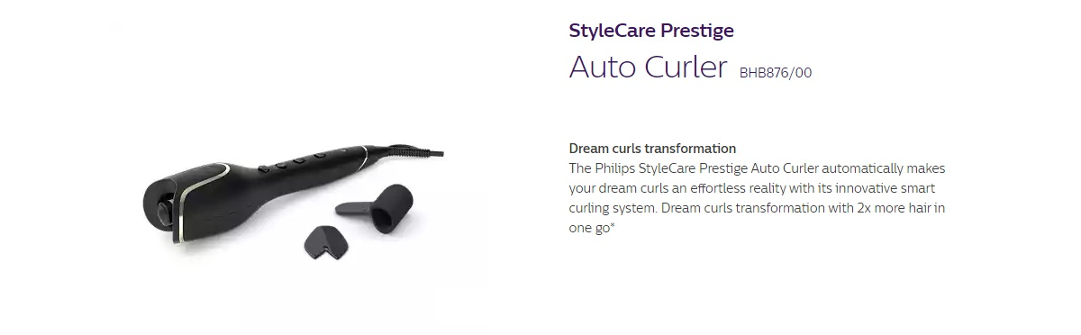 Product details of Philips BHB876 Style Prestige Auto Curler (BHB876/00)
