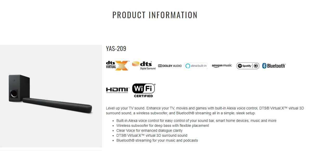 Yamaha YAS-209 Bluetooth Dobly DTS Virtual:X Soundbar (Wireless Subwoofer) with Alexa